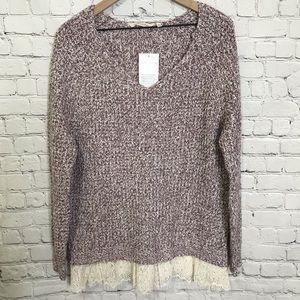 Soft Surroundings lace bottom v neck sweater Sz M